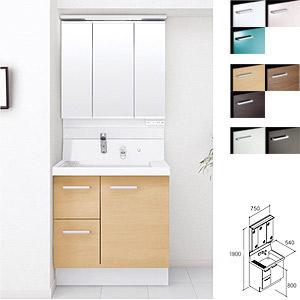 洗面化粧台 ピアラ[間口750mm][高さ1900mm][シングルレバーシャワー水栓][3面鏡(全収納)][LED][一般地]