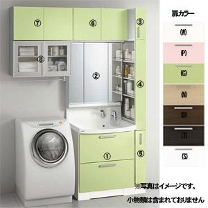 洗面化粧台セット ファンシオ[間口1650mm][高さ2350mm][オールスライドタイプ(体重計収納付き)][3面鏡][LED][トールキャビネット][洗濯機用ミドルキャビネット][一般地]