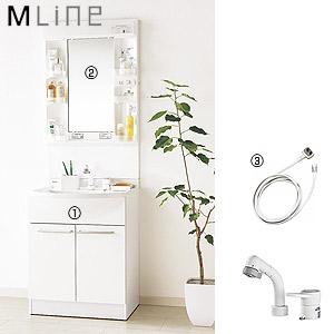 洗面化粧台セット エムライン[間口600mm][高さ1800mm][シングルレバーシャワー混合水栓][1面鏡][LED][ホワイト][一般地]