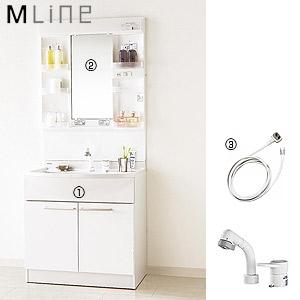 ●洗面化粧台セット エムライン[間口750mm][高さ1800mm][シングルレバーシャワー混合水栓][1面鏡][LED][ホワイト][一般地]