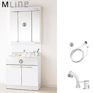 ●洗面化粧台セット エムライン[間口750mm][高さ1890mm][シングルレバーシャワー混合水栓][3面鏡][LED][ホワイト][一般地]