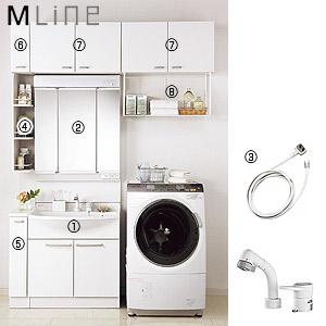 ●洗面化粧台セット エムライン[間口1650mm][高さ2290mm][シングルレバーシャワー混合水栓][3面鏡][LED][キャビネット][ホワイト][一般地]