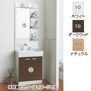 洗面化粧台セット リフレスタンド[間口600mm][高さ1925mm][シャワー水栓(節湯水栓)][1面鏡][LED][ヒーターつき][ミラー:スタンダード][一般地]