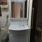 洗面化粧台取替工事 千葉県千葉市中央区 GQM75KSCW-GQM75K3SMK
