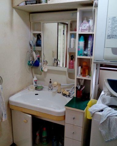 洗面化粧台取替工事 静岡県牧之原市 LSAB-70A-LSAM-7VS-W